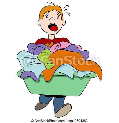pesado, cesta, lavanderia - csp12804383