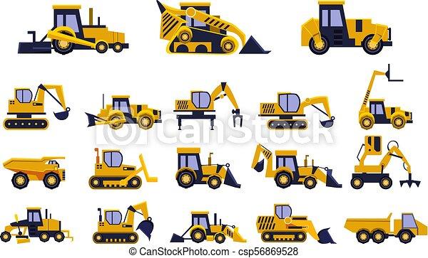 pesado, diferente, caminhões, jogo, veículos, equipamento, vetorial, fundo, ilustrações, construção, branca, tipos - csp56869528
