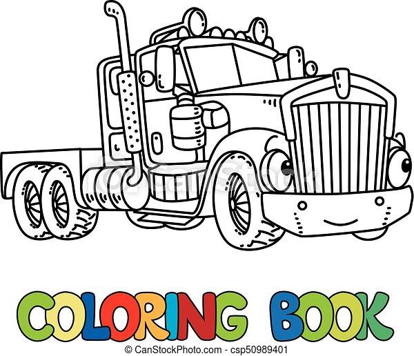 Pesado, divertido, libro colorear, camión, eyes. Pesado,... clipart ...