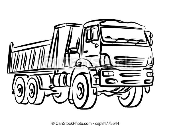 pesado, esboço, truck., entulho - csp34775544