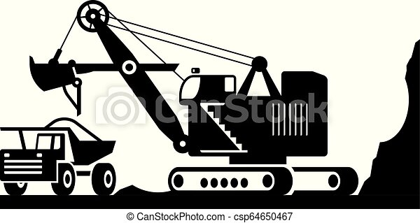 pesado, escavador, minério, dever, carregando, caminhão - csp64650467
