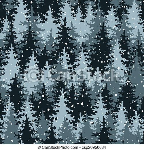 pesado, forest., neve, pinho - csp20950634