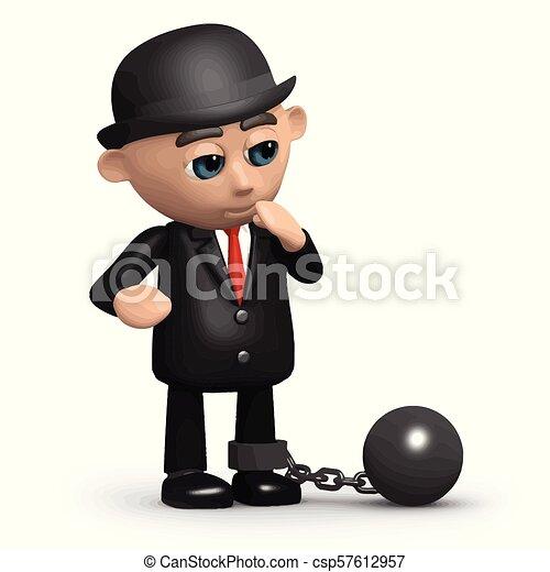 Hombre de negocios 3D pesado - csp57612957