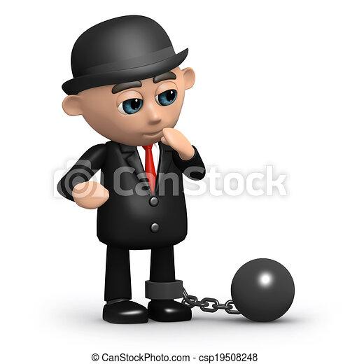 Hombre de negocios 3D pesado - csp19508248