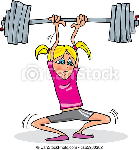 pesado, menina, musculação - csp5980362