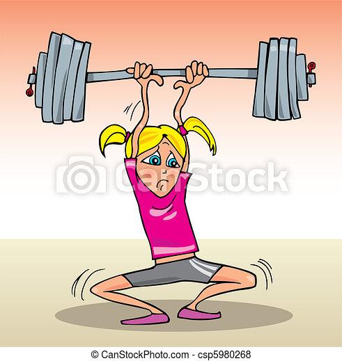 pesado, menina, musculação - csp5980268