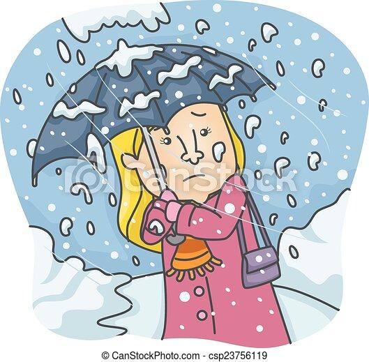 pesado, menina, queda neve - csp23756119