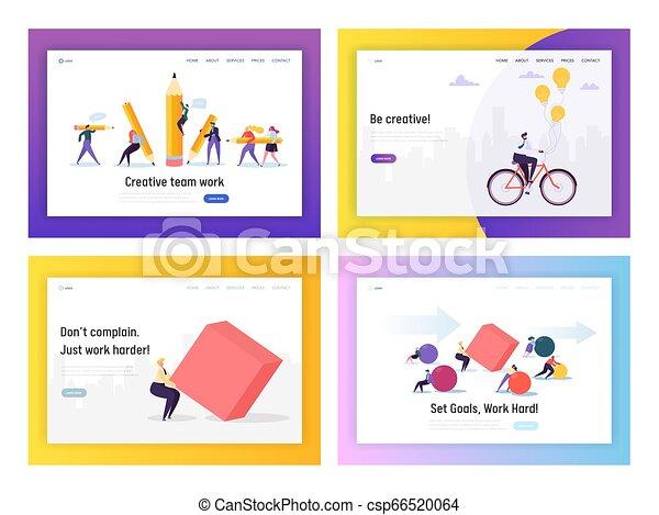 Gente de negocios compitiendo con concepto de página de aterrizaje. Hombre de negocios yendo en bicicleta al trabajo. El personaje se mueve en forma pesada. Gol de liderazgo para la web de carrera o página web. Ilustración de vectores planos - csp66520064