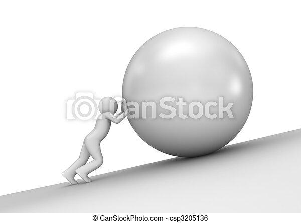 Peso pesado, hombre y piedra - csp3205136