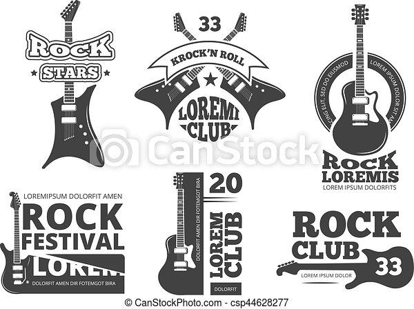 pesante, logos, set, negozio, vendemmia, etichette, chitarra, roccia, jazz, vettore, fascia musica, chitarre acustiche - csp44628277