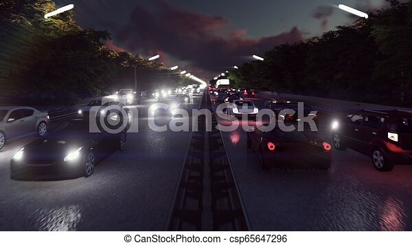 pesante, luci urbane, automobili, interpretazione, traffic., notte, andare, gruppi ottici anteriori, night., 3d - csp65647296