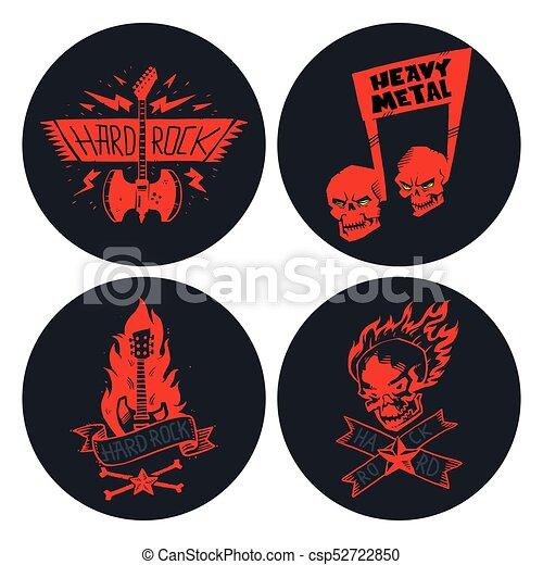 pesante, suono, emblema, cranio, vendemmia, simbolo, duro, punk, illustrazione, etichetta, vettore, musica, roccia, distintivo, adesivo - csp52722850