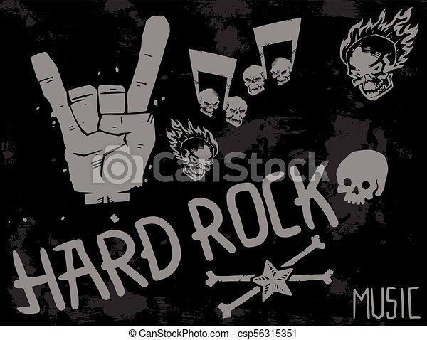 pesante, suono, emblema, cranio, vendemmia, simbolo, duro, punk, illustrazione, etichetta, vettore, musica, fondo, roccia, distintivo, adesivo - csp56315351