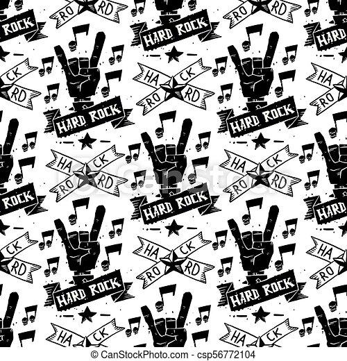 pesante, suono, emblema, cranio, vendemmia, adesivo, duro, punk, seamless, illustrazione, etichetta, vettore, musica, fondo, roccia, modello, distintivo - csp56772104