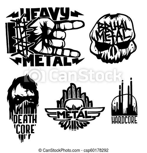 pesante, suono, etichette, emblema, cranio, vendemmia, adesivo, duro, punk, illustrazione, simboli, vettore, musica, roccia, stampa, distintivo - csp60178292