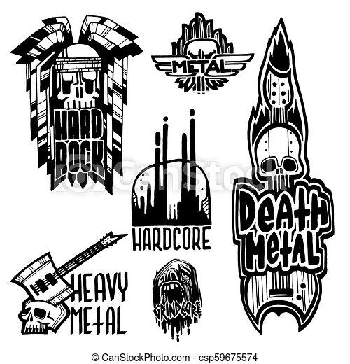 pesante, suono, etichette, emblema, cranio, vendemmia, adesivo, duro, punk, illustrazione, simboli, vettore, musica, roccia, stampa, distintivo - csp59675574