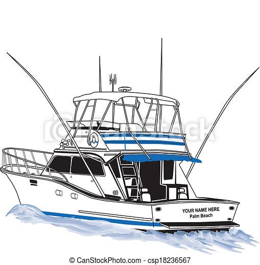 pesca del deporte, barco, costa afuera - csp18236567