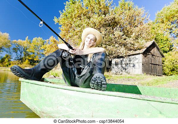 pesca mulher, bote, sentando - csp13844054
