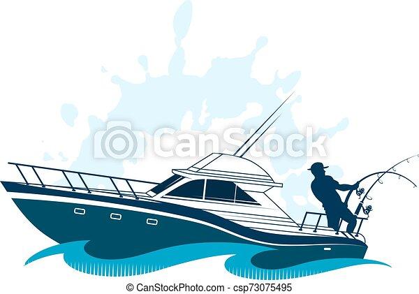 Pescador en el barco - csp73075495