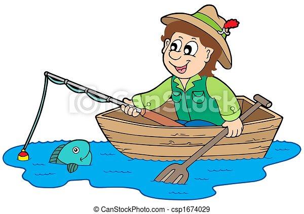 pescador, barco - csp1674029