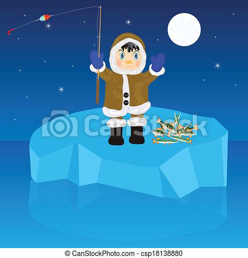 Pescador en bloque de hielo - csp18138880