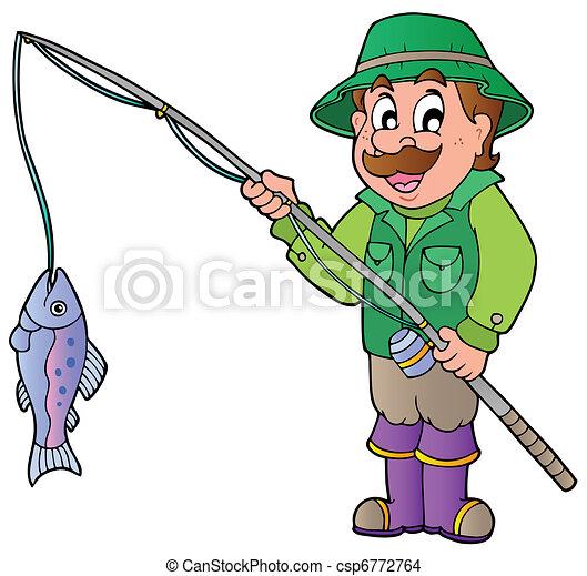 Pescador de dibujos animados con caña y pescado - csp6772764