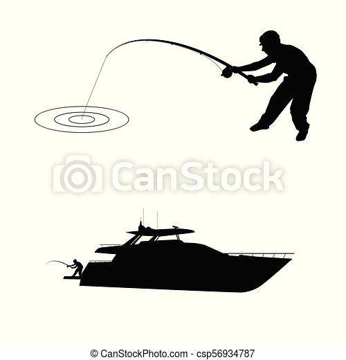 Silueta de pescador con bote - csp56934787