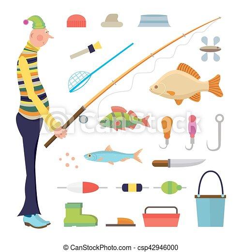 pescatore, cartone animato, pesca, icone - csp42946000