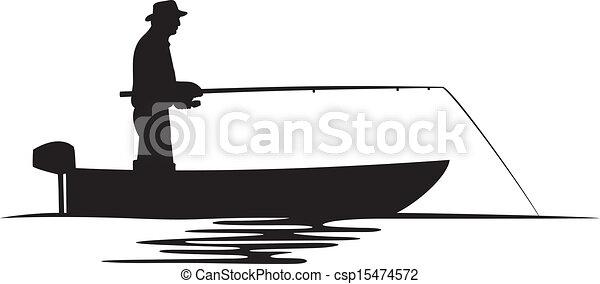 pescatore, silhouette, barca - csp15474572