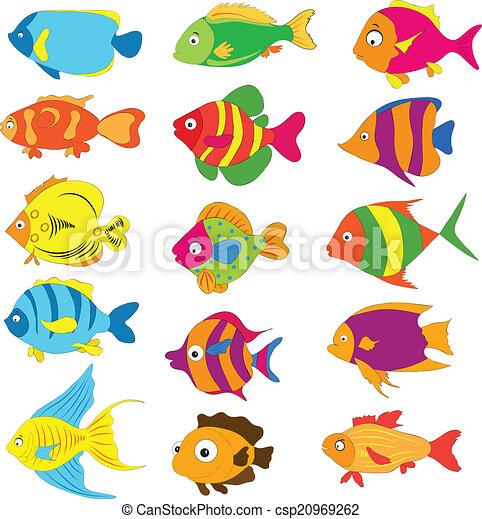 Pesci tropicali set for Disegni da colorare pesci tropicali