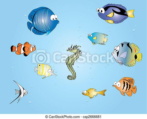 Pesci tropicali pesci divertente ector cartone animato for Vendita on line pesci tropicali