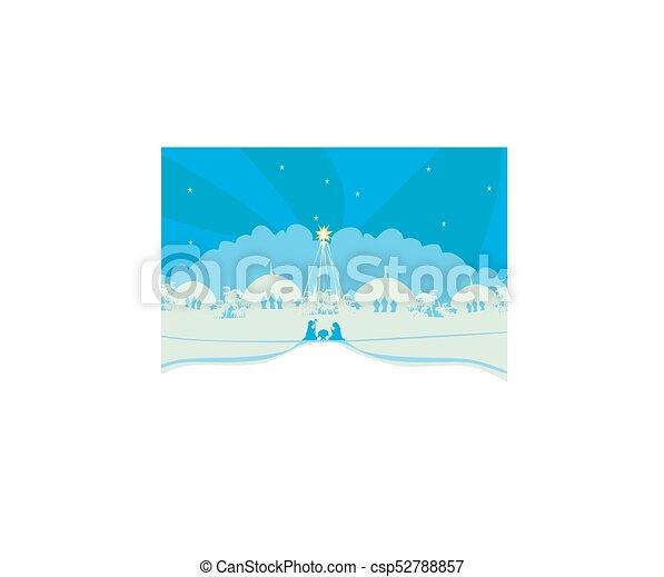 pesebre, cristiano, escena, jesús, natividad, bebé, navidad - csp52788857