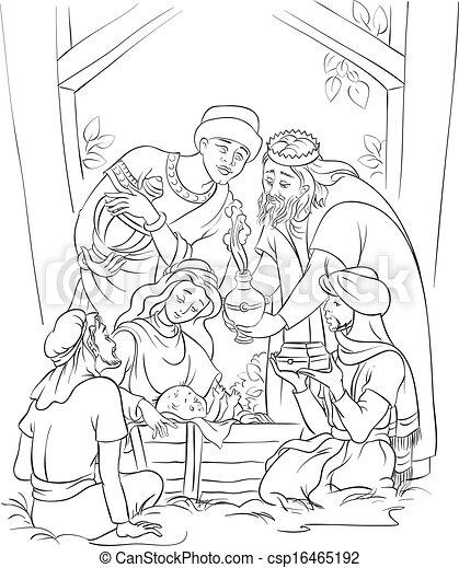 Pesebre, reyes, tres, jesús. Disponible, page., maría, colorido ...