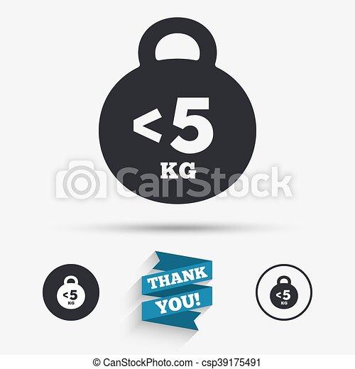El icono de las señales de peso. Menos de 5 kilos. - csp39175491