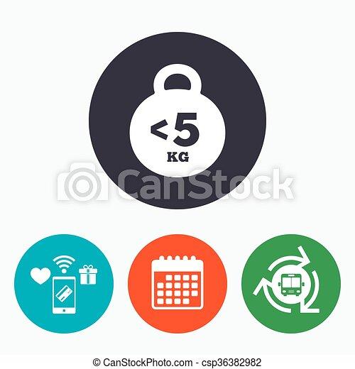 El icono de las señales de peso. Menos de 5 kilos. - csp36382982