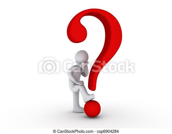 pessoa, 3d, marca pergunta - csp6904284