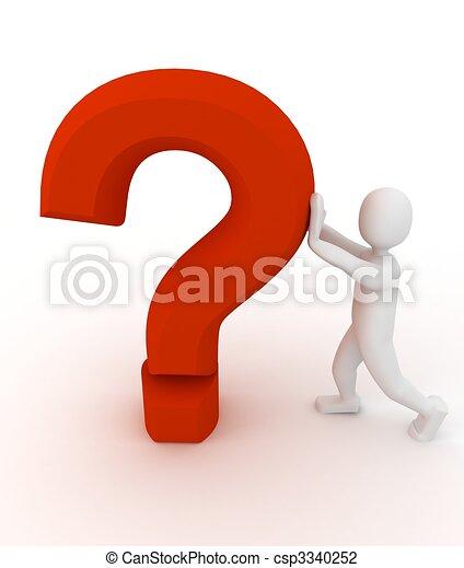 pessoa, 3d, pergunta, sinal - csp3340252