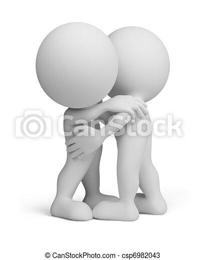 pessoa, abraço, -, amigável, 3d - csp6982043
