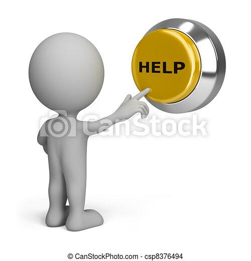 pessoa, botão, apertando, ajuda, 3d - csp8376494