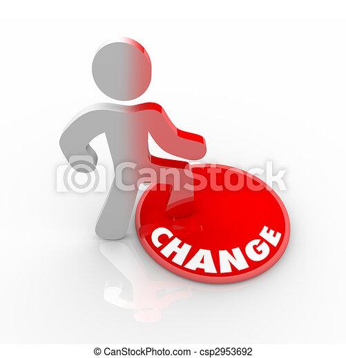 pessoa, botão, cima, pisar, mudança - csp2953692