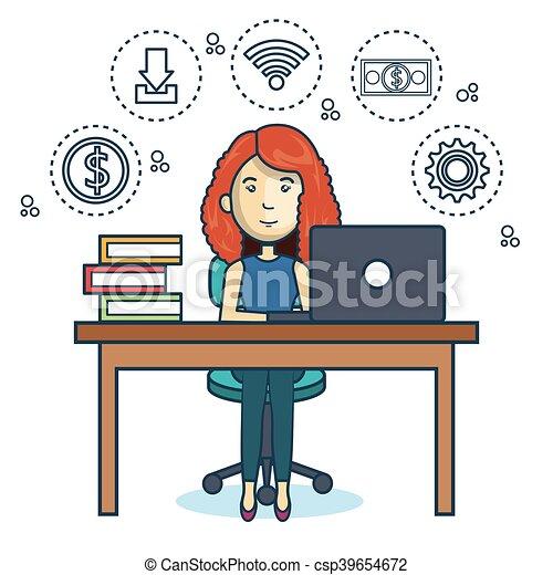 Pessoa trabalhando escrit rio cone trabalhando for Dibujo de una oficina moderna