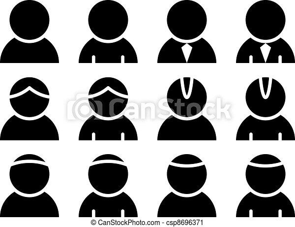 pessoa, vetorial, pretas, ícones - csp8696371