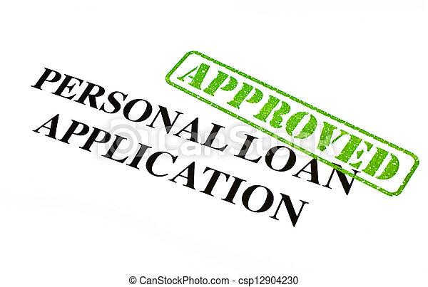 pessoal, aplicação, empréstimo, aprovado - csp12904230
