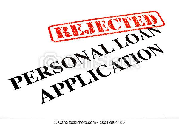 pessoal, aplicação, empréstimo, rejeitado - csp12904186