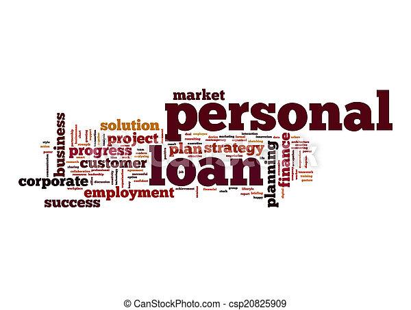pessoal, empréstimo, palavra, nuvem - csp20825909