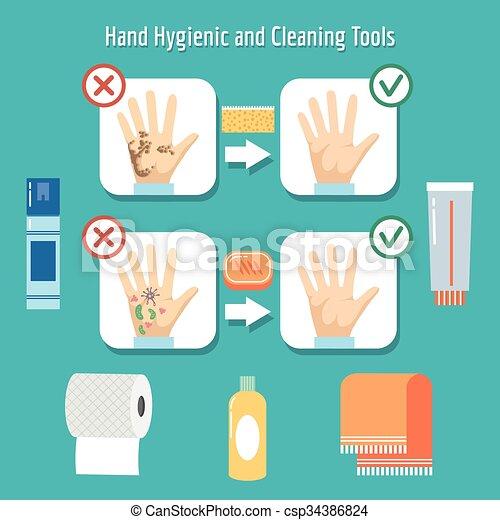pessoal, itens, higiene - csp34386824