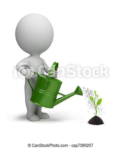 pessoas, aguando, -, germe, pequeno, 3d - csp7390207