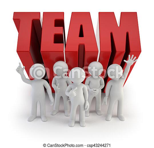 pessoas, confiança, -, equipe, pequeno, 3d - csp43244271