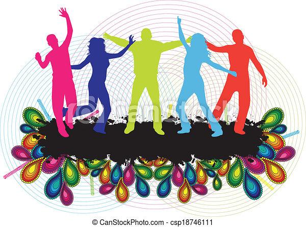 pessoas, dançar, -, jovem, fundo, partido - csp18746111