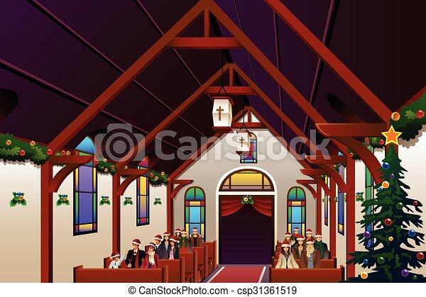 pessoas, dentro, véspera, celebrando, igreja, natal - csp31361519